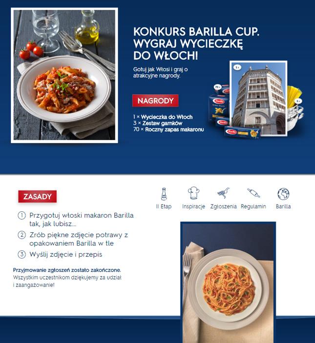 Barilla Cup 2016 konkurs organizacja strona www